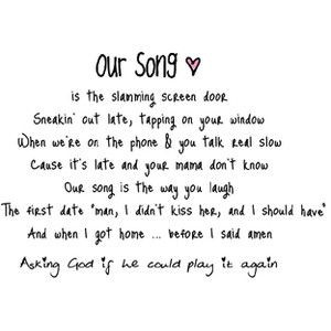 taylor swift our song lyric quotes - Google Search