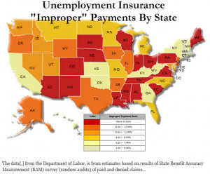 in unemployment insurance benefits is revealed in the map below