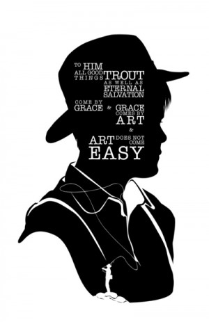 Norman Maclean - Quote Silhouette Art Print