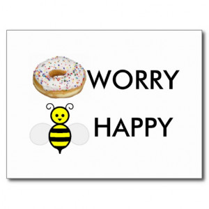 Funny donut worry bee happy quote slogan saying postcard