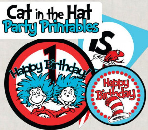 The Cat in the Hat party printables. Perfect for your birthday boy or ...