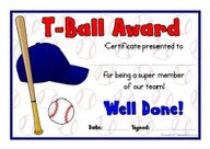Ball award certificates