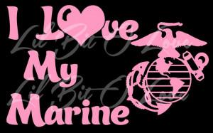 Love My Marine Vinyl Car Decal - USMC Marine Girlfriend Wife Mom