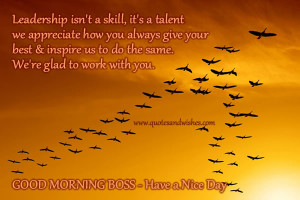 Good Morning Boss picture quotes and images. Have a nice day and good ...