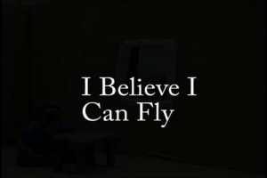 ... image include: i can fly mee !, black and white, fly, quotes and song
