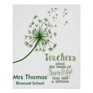 Teacher Thank you poster dandelions fingerprints