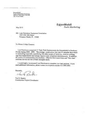 Letter of recommendation from ExxonMobil
