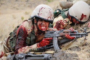 pakistani soldiers having wounds and blood coming out
