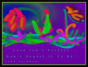 ... modern Original painting of flowers with inspirational love quote