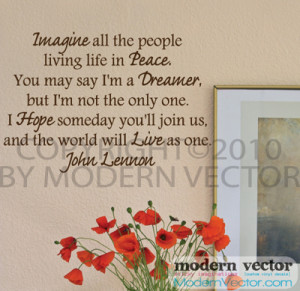 Details about John Lennon IMAGINE Vinyl Wall Quote Decal Lettering