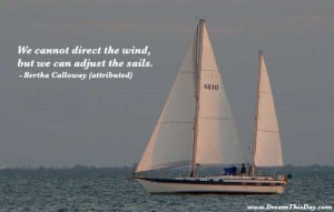 We cannot direct the wind , but we can adjust the sails .