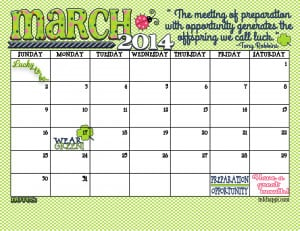 Cute March Calendar 2014 March 2014 calendar and quote.