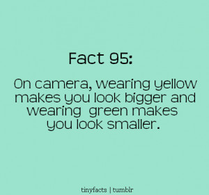 Fact Quote : Wearing yellow makes you look bigger on camera.