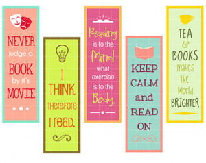Reading Quotes Bookmarks Digital Clip Art for Scrapbooking Card Making ...