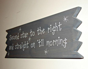 Peter Pan Sign Quote Distressed Board Wood by ThreeBlueOwls,