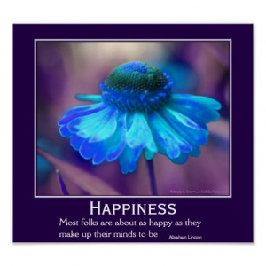 Happiness Zinnia Flower Motivational Quote Print