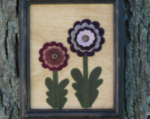 Primitive Zinnia Flower Wool Framed Flowers Folk Art Picture