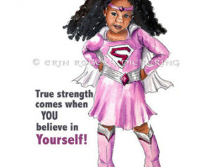 True Strength African American Supe r Girl Print 8x10 ...