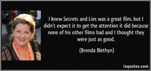 knew Secrets and Lies was a great film, but I didn't expect it to ...
