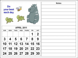 To download and print this Free children or kids Calendar April 2011: