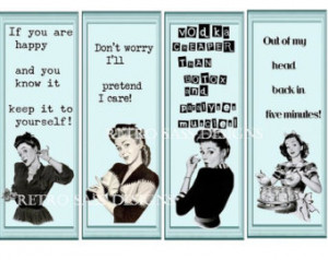 Sassy RETRO LARGE tags/bookmarks funny sayings style from the 50's SET ...