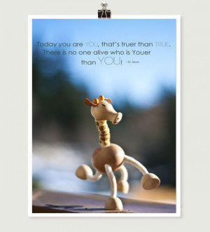 Giraffe figurine Photograph, Dr. Seuss quote, Happy Birthday You, 5x7 ...