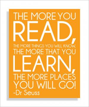 Dr. Seuss Quote, Read, Modern Art Print Typography Nursery wall decor ...