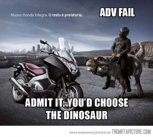 Funny photos funny Dinosaur ad motorcycle