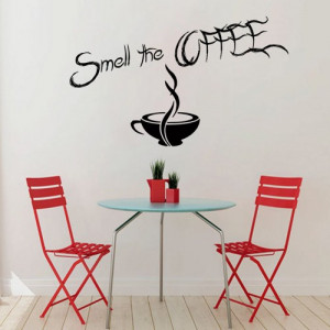 Coffee Wall Decals Wall Quotes Smell The Coffee Wall Words Cafe ...