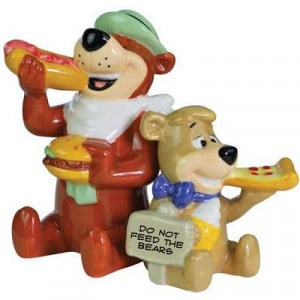 Yogi Bear And Boo-Boo Eating Salt and Pepper Shakers