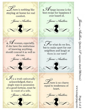Jane Austen quotes 3.5 inch squares digital collage sheet . Use this ...