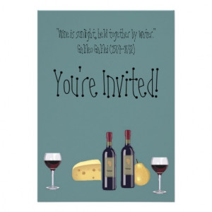 Wine and Cheese Party+Quote Personalized Announcement