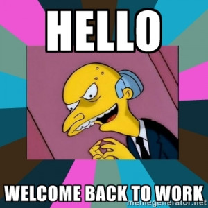 Mr. Burns - hello welcome back to work