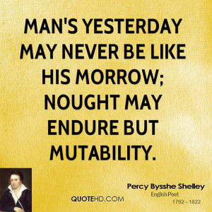 Man's yesterday may never be like his morrow; Nought may endure but ...