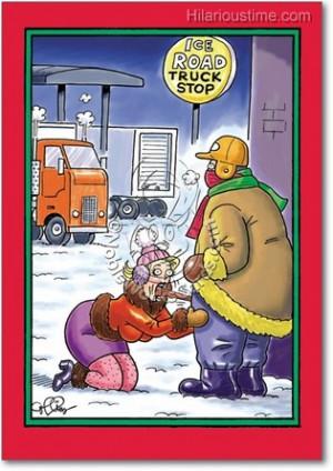 ice road cartoon christmas card