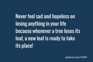 Image for Quote #37000: Never feel sad and hopeless on losing anything ...