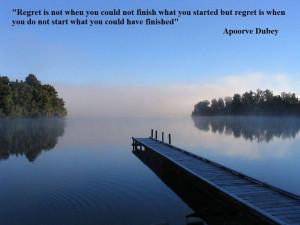 Regret Inspirational Quote Wallpaper background