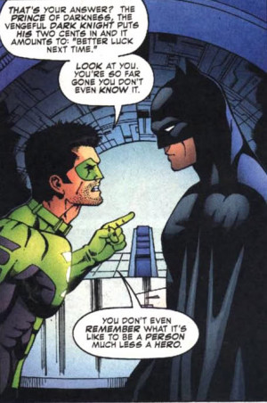 Kyle Rayner Green Lantern yells at Batman