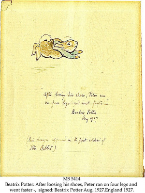 In Beatrix Potter's own handwriting