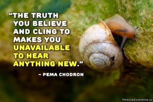 "... cling to makes you unavailable to hear anything new."" ~ Pema Chodron"