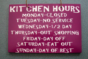 Wooden Painted Funny Kitchen Hours Sign 6 in x 9 in