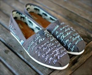 Demi Lovato Warrior Quote Toms shoes by BStreetShoes on Etsy, $149.00