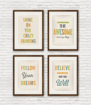Typography quote print set, 4 quote posters, inspirational art ...