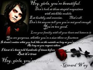 Gerard Way..Hey Girls Youre Beautiful
