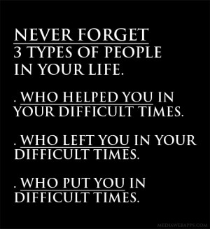 Never forget 3 types of people in your life. 1. Who helped you in your ...
