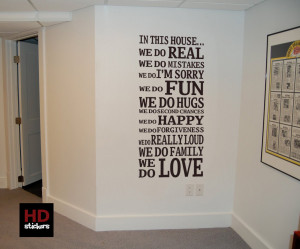 wall quotes in this house vinyl wall quotes sticker family modern room ...