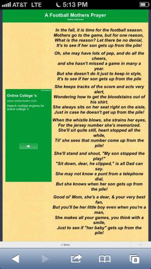 Football Mom Prayer Football moms prayer author unknown. via melodi ...