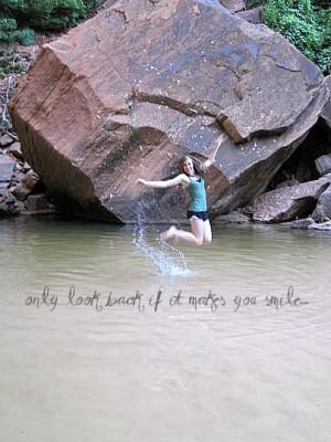 jump, jumping, memories, past, quote, smile, splash, water