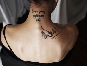 Neck Female Quotes Tattoo for Girls