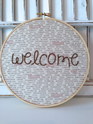 Welcome Quote Hand Embroided Hoop Art New Home 6 by EmbroiderWee, $20 ...